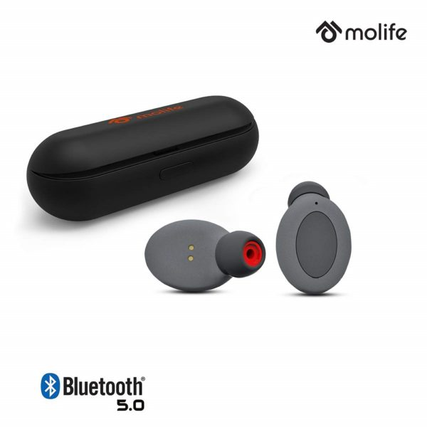 Molife FreePlay Bluetooth 5.0 True Wireless Earbuds with Charging Dock (Black)