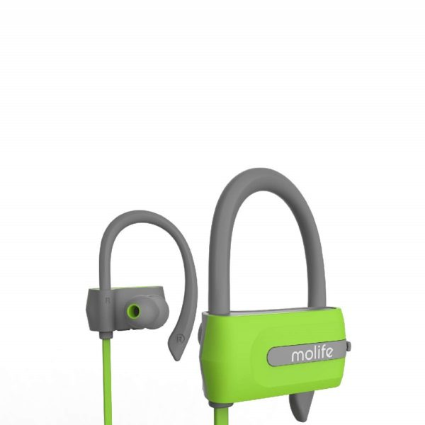 Molife Zoom Sports Wireless Bluetooth in-Ear Earphones with Mic and Earhooks (Green- Dual Tone)