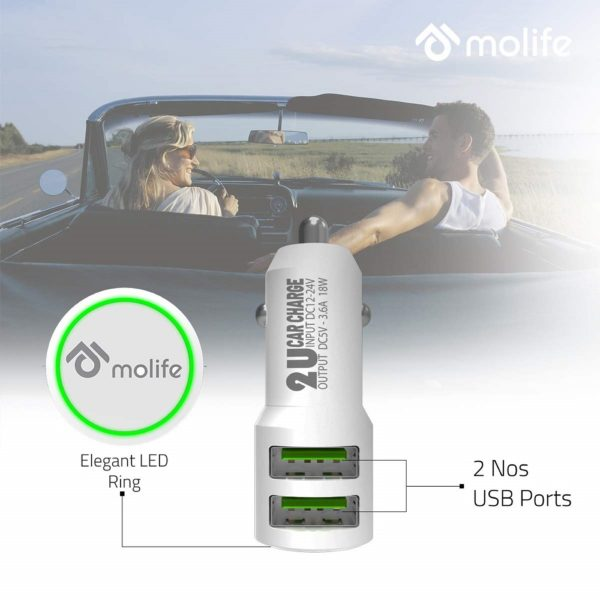 Molife Delta Dual USB Port 3.6 A Rapid Car Charger with LED Light Ring