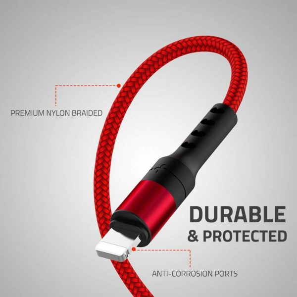 Molife 2.1 Amp 1 Meter 3-in-1 Micro USB Type C Lightening Charging Cable Nylon Braided (Red)