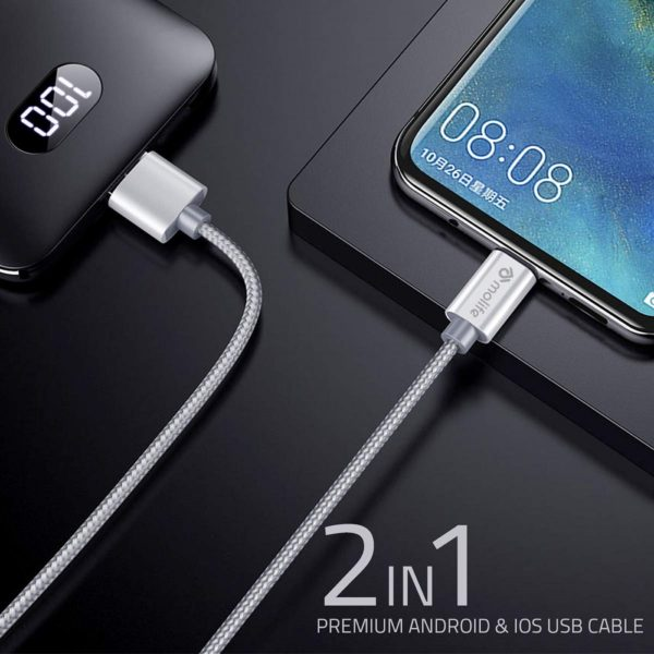 Molife 2.1 Amp|1 Meter 2-in-1 Micro USB|Lightening Charging Cable Nylon Braided (Gold)