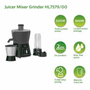 Philips HL7579/00 600W Turbo Juicer Mixer Grinder with 3 Jars