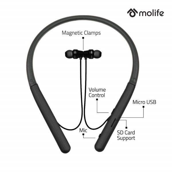 Molife Boomerang Wireless Sports Neckband Bluetooth in-Ear Earphones with Mic (Black)