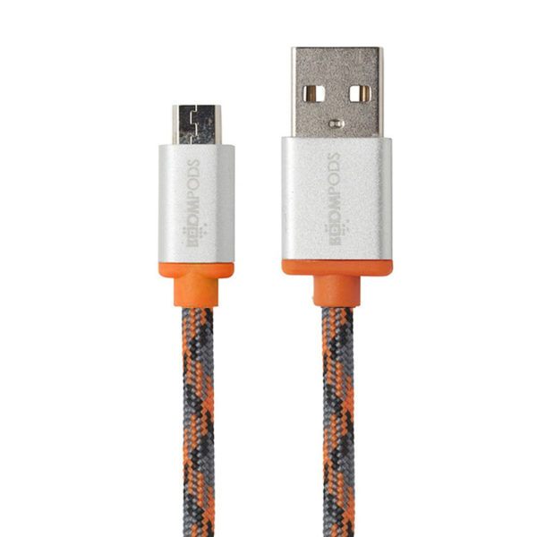 Boompods Retro Charging Cable for Android - Sync and Charge - USB to Micro USB - Orange