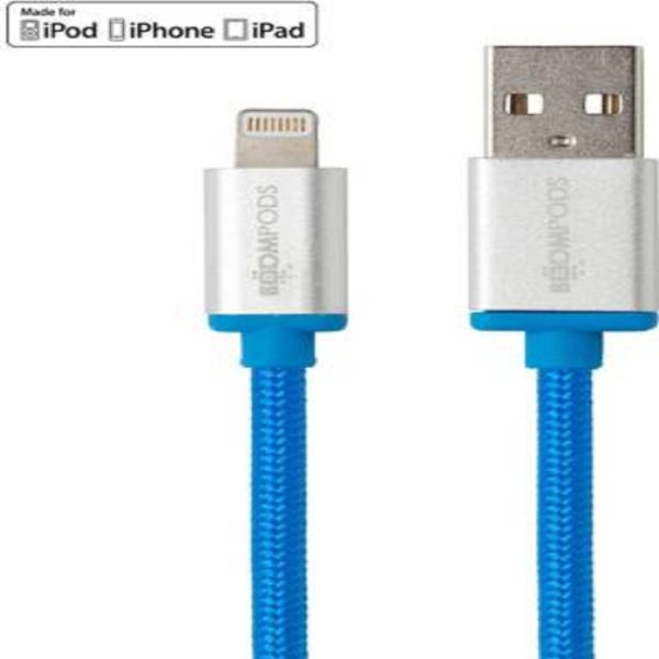 Boompods Retro Meter 1 m Lightning Cable (Compatible with iPod, iPhone, iPad, Blue, One Cable) Blue