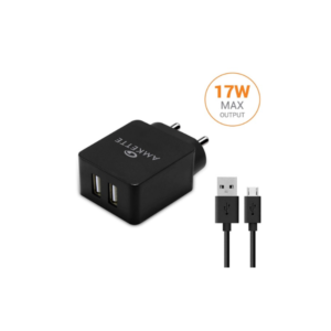 Amkette Power Pro Smart Dual Port Wall Charger Micro USB Cable Included (3.4 Amperes) (Black)