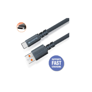 Amkette Charge Pro Extra Tough Fast Charging Flat Type C Cable – 1.5 Meter (Grey)