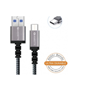 Amkette Power Pro USB 3.0 Braided Charge and Sync Fast Charging Type C Cable – 1.5 Meter (Black)