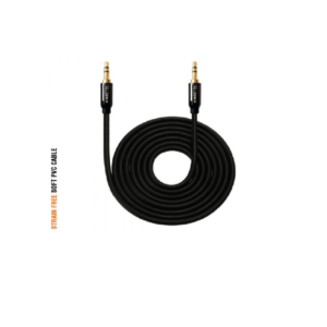 Amkette Audio Cable with 3.5mm Gold Plated Connectors for Car / Speakers – (1.2m) (Black)