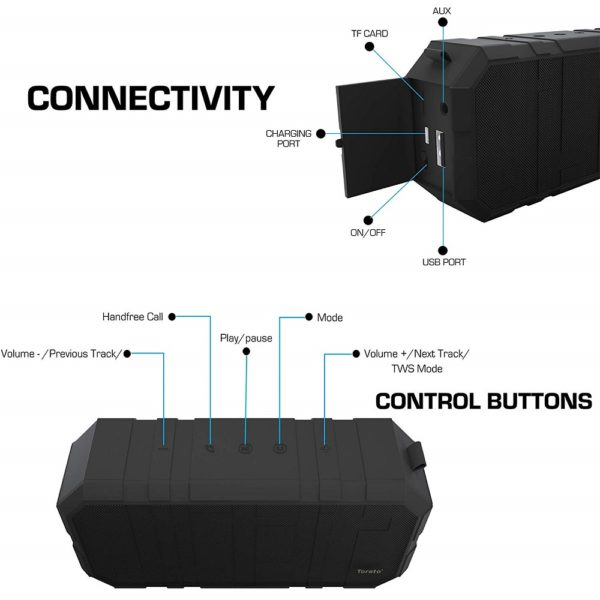 Toreto BOOM-325, 10W Bluetooth Speaker with Monstrous Sound and mic (Black, Tor-325)