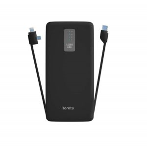 Toreto Trilogy, 12000 mAh Li-Polymer Power Bank with 2.4 Amp Fast Charge and in-Built Type-c/iOS/Micro Cables