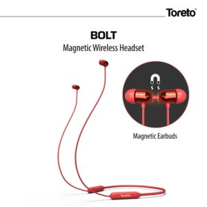 Toreto Bolt, in Ear Bluetooth headsets with Mic(Red)