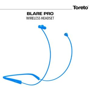 Toreto Blare Pro, Wireless Magnetic Neckband, Bluetooth in Ear with Mic (Blue)