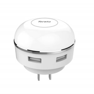 Toreto Light Up TOR-509 (Dual USB Home Charger with LED Night lamp, White)