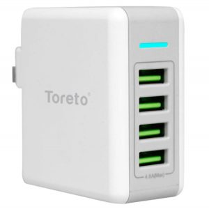 Toreto Quad TOR 503 (White 4 Port USB Charger)
