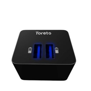 Toreto Charge 5 TOR 505 (Black,Dual port charger Adapter with Micro USB cable)