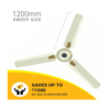 Atomberg BLDC Motor with Remote 3 Blade Anti-Dust Ceiling Fan (Efficio+ 1200 mm , Pearl Ivory)