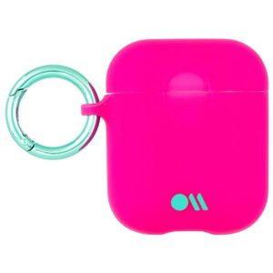 Stuffcool Case-Mate AirPods Case Cover Hook Ups - Silicone Compatible with Apple AirPods Series 1 & 2 (Dark Pink)