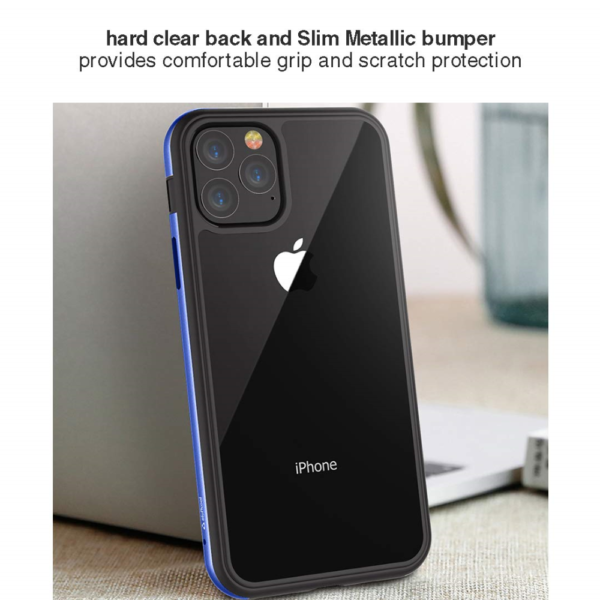 """Stuffcool Frame Hard Clear Back Case Cover with Slim Metallic Bumper for Apple iPhone 11 Pro 5.8"""" (Blue)"""