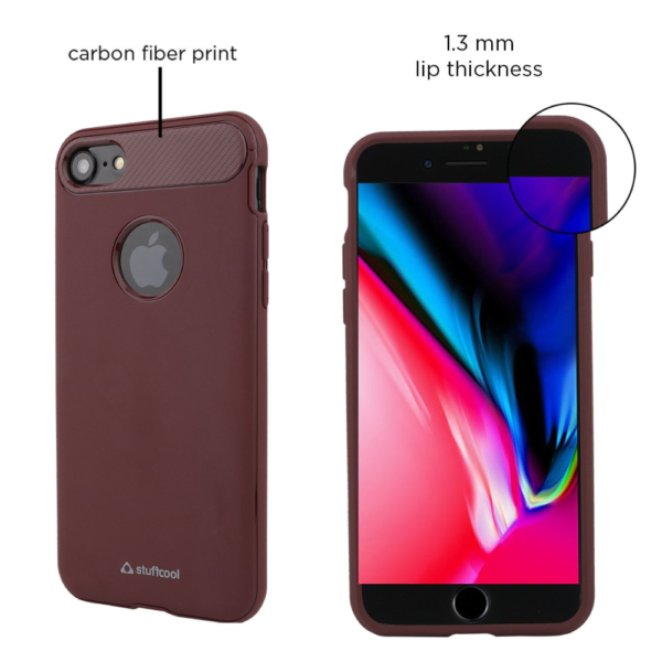 Stuffcool Soft Flexible TPU Armour Back Case Cover for Apple IPhone 7 (Cherry)