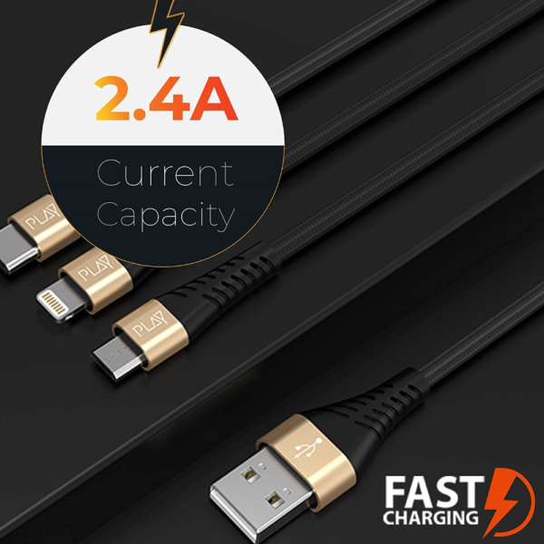 Play BMCL4 3-in-1 Charging Cable with 1.2m Length, 2.4A Current Carrying Capacity, Nylon-Braided, Fire-Proof, USB-A to Micro USB / Type C / Lightening Connector (Black + Champagne)