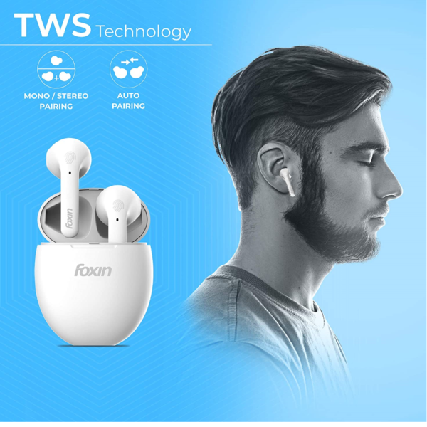 Foxin A7 True Wireless Stereo Bluetooth Earbuds (White)
