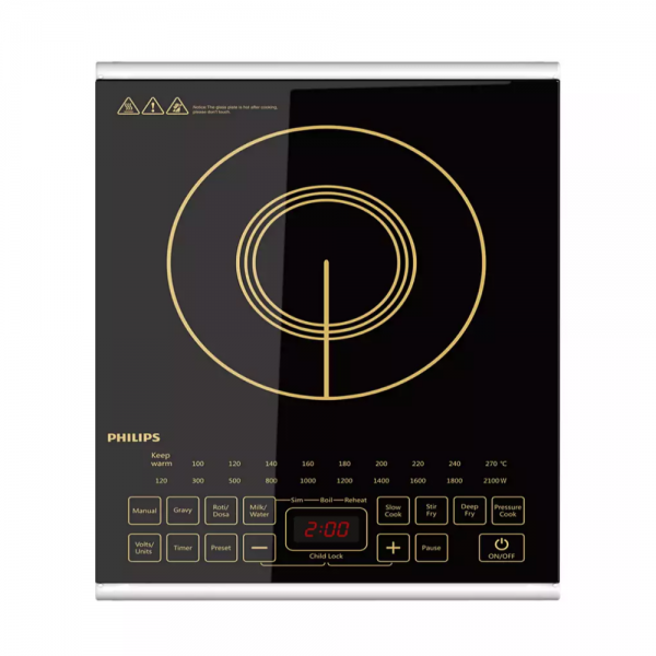 Philips HD4938/01 2100 W Induction Cooktop with an easy touch interface for superior cooking (Black)