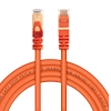 Live Tech Enzo CAT7 1 Meter Ethernet Networking Cable 10 Gigabit 600Mhz SFTP 26AWG 7 * 0.12mm Bare Copper Patch Cable with Gold Plated 50U Connector for Modem Router PS3 PS4 CCTV - 3.2 feet cable (Orange)