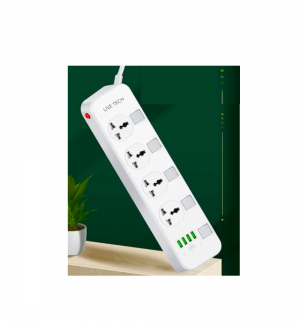 Live Tech Power Strip PS14 4 Socket 4 & USB Extension Cord Surge Protector (White)