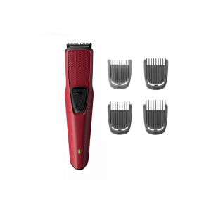 Philips BT1235/15 Beard Trimmer series 1000 Stainless Steel Blades, Protects against nicks and cuts for Men ( Maroon)