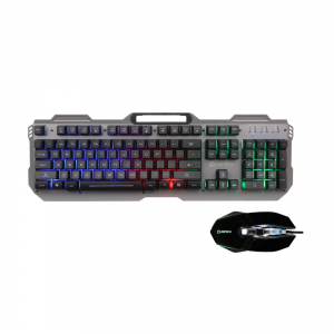 Live Tech Evon Wired Gaming Combo with LED Backlit USB Keyboard & Mouse Gold Plated USB, Braided Cable (Black)