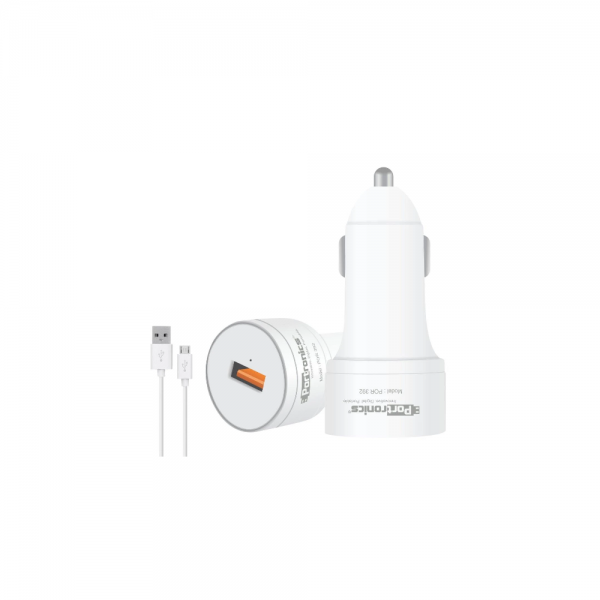 Portronics Car Power 1Q 3.0A Quick Car Charger with Single USB Port (White)