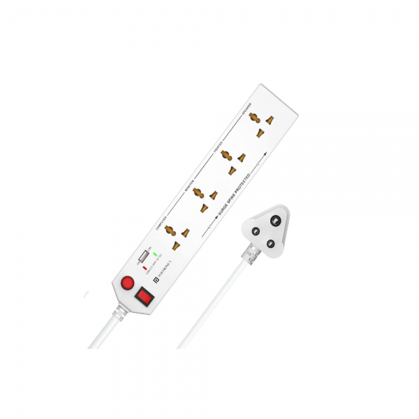 Portronics Power Plate 4 With 4 Power Sockets +1USB Port Power Converter (White)