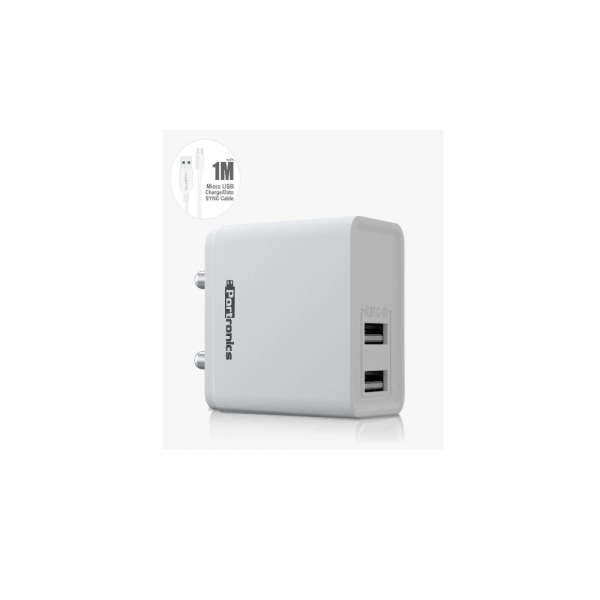 Portronics Adapto 648 2.4 A Charger With USB Ports (White)