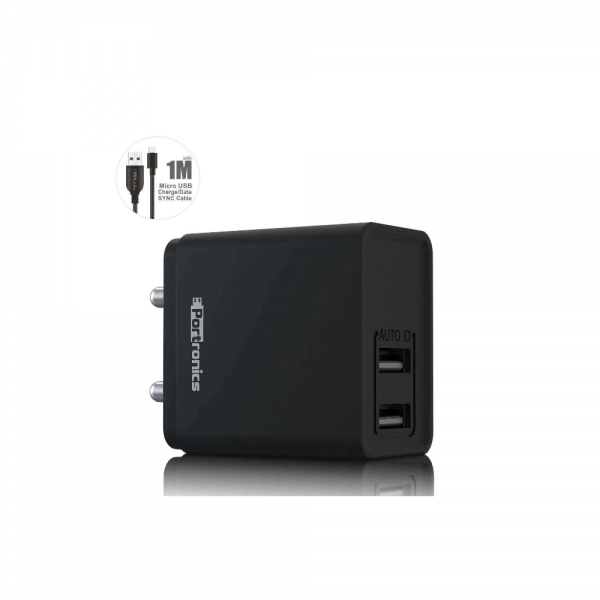 Portronics Adapto 648 2.4 A Charger With USB Ports (Black)