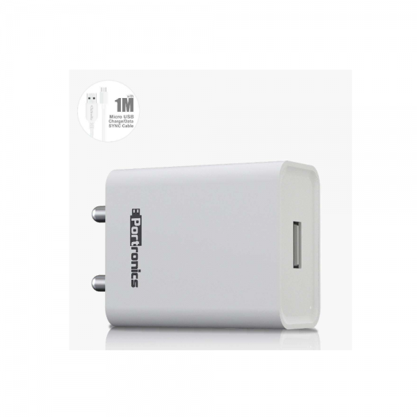 Portronics Adapto 62 2.4 A Charger With Single USB Port (White)