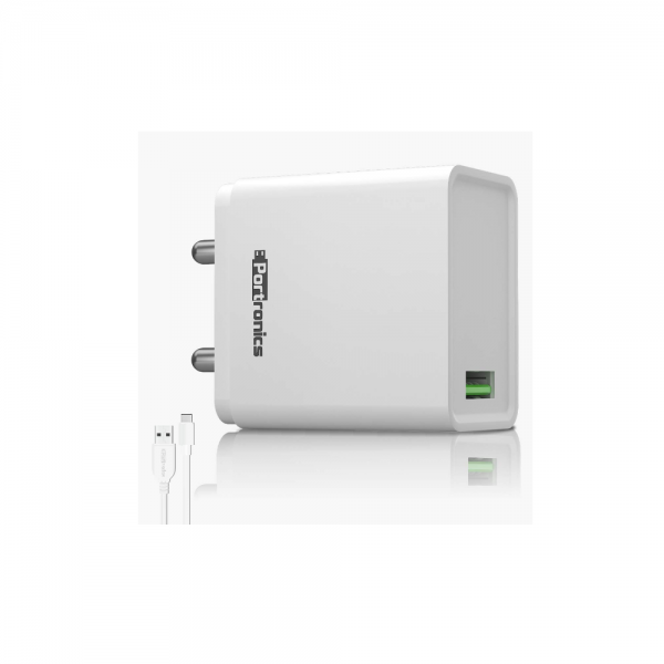 Portronics Adapto one (With Type C Cable) 3.0A Single Port Adapter With Quick Charge (White)