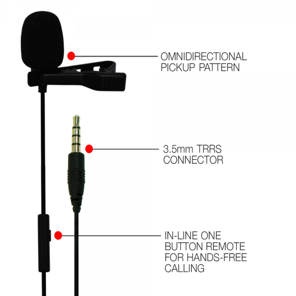 JBL Commercial CSLM20 Omnidirectional Lavalier Microphone with Dubbing, Recording (Black)