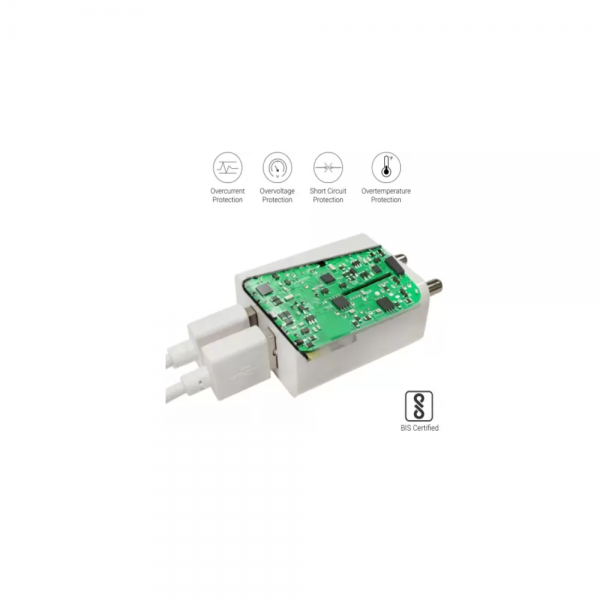 Portronics Adapto 488 2.4 A Charger with Dual USB Ports (White)