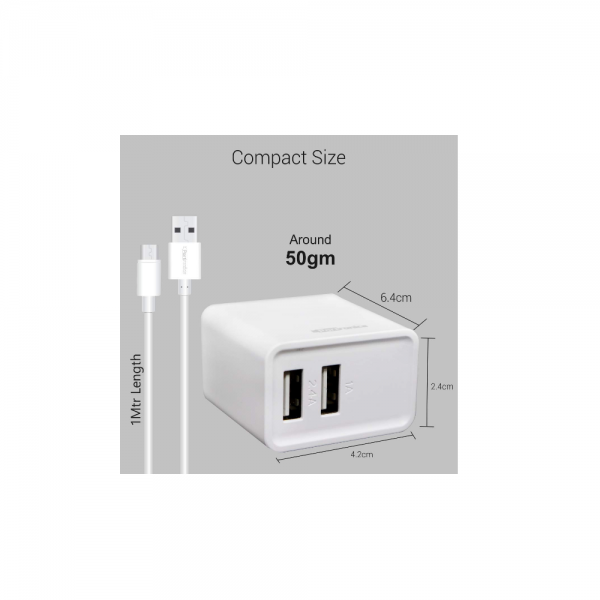Portronics Adapto 646 3.1A Charger with Dual USB Ports (White)