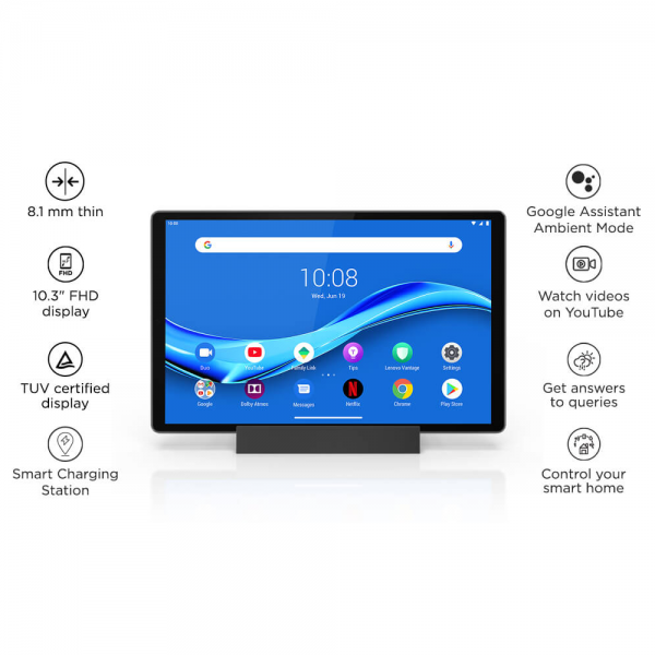 Lenovo M10 X-606V Android 9, 10.3 Inches Tablet, 128GB Storage, Wi-Fi + 4G LTE ,26.16' FHD Smart Dock Bundle with Google Assistant (ZA6S0003IN, Iron Grey)