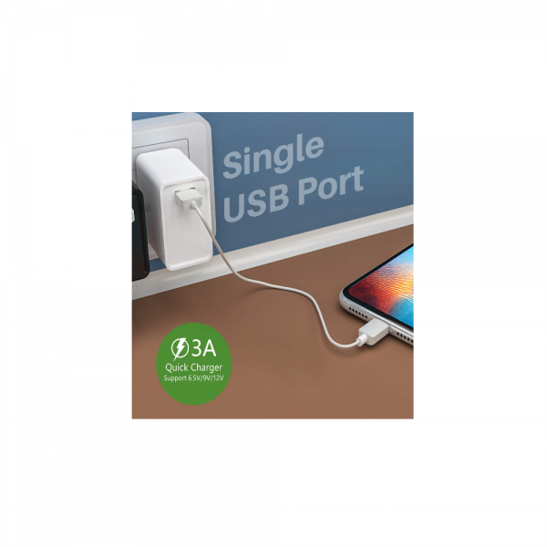 Portronics Adapto one (With Micro Cable) 3.0A Single Port Adapter With Quick Charge (White)